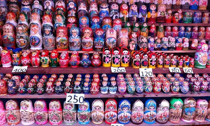 Matrioskas en el Mercado de Izmailovo