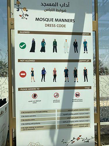 codigo de vestimenta para Sheikh Zayed