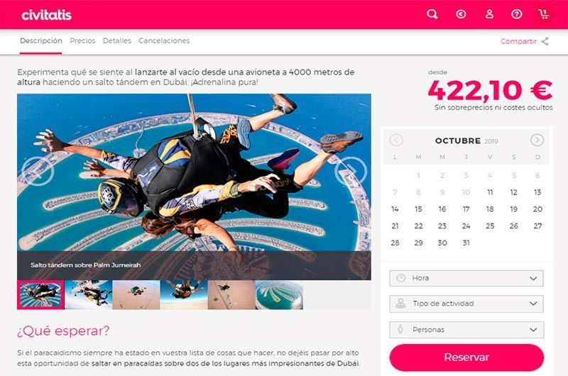 Proceso para reservar el skydive en Dubai