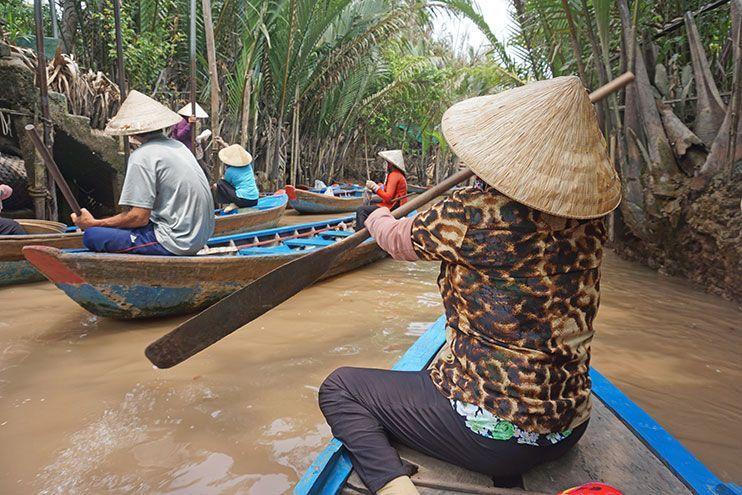 Paseo en barco por los canales del Mekong