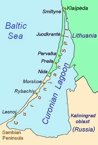 Mapa del Itsmo de Curlandia