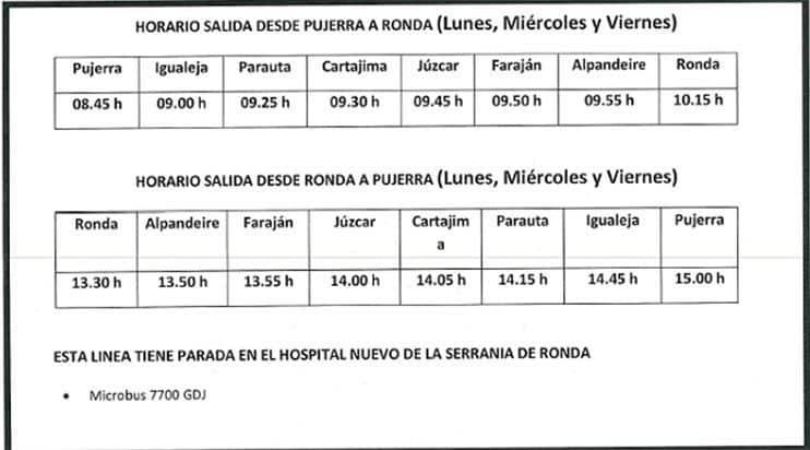 Horarios buses Ronda Juzcar