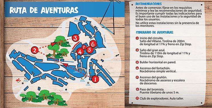 Mapa de la ruta de aventuras