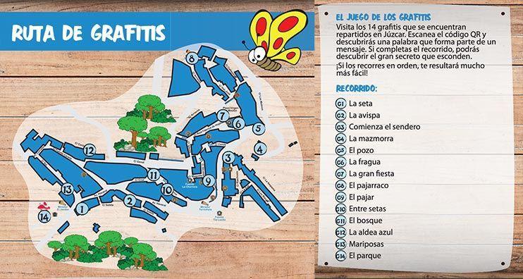 mapa de la ruta de los grafitis de Júzcar